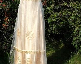 Golden Edwardian gown Titanic Dress Edwardian wedding dress Downton Abbey Regency dress Handmade in England by Mona Bocca