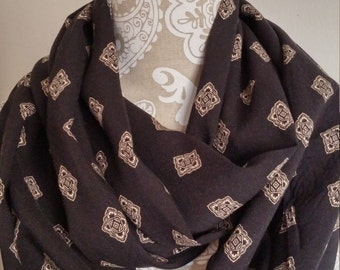 Black Rayon Infinity scarf, Woman scarves, loop scarf, tube eternity scarf, handmade, accessories, fashion accessories