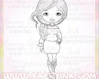 Fashionista Girl Boots Bows UNCOLORED Digital Stamp Image Adult Coloring Page jpeg png jpg Craft Cardmaking Papercrafting DIY