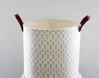 Cream and Grey Storage Basket with Leather Handles, Storage Bin