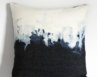 "18""x18"" Dip Dye Indigo Denim Throw Pillow, Decorative Pillow Cover"