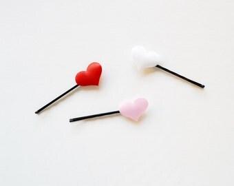 Set of 3 Tiny Heart Love Bobby Pins