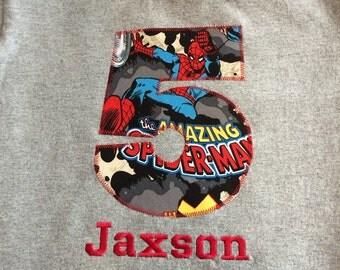 Avengers Birthday Tee Shirt, Marvel Number Tshirt, Captain America, Thor, Hulk, Iron Man, Wolverine, Spiderman, Personalized Name Monogram