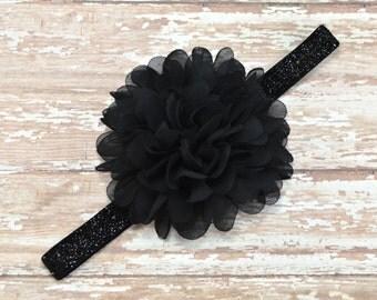 Black Flower Headband, Black Headband, Solid Black Headband, Flower Hair Clip, Black Glitter Headband, Flower Girl Headband, Baby Headband
