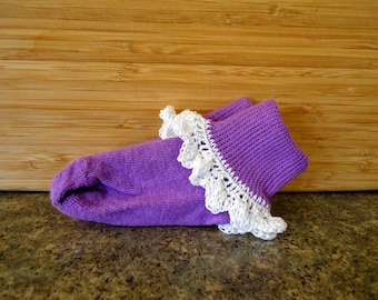 Purple baby girl socks with frilly white crochet trim, multiple sizes available