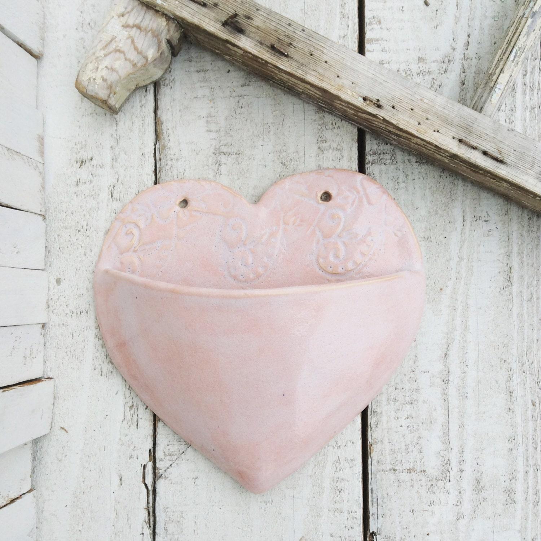Ceramic Large Pink Heart Planter Wall By Petitepotterymarket