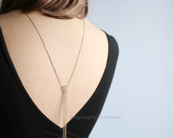 fringe - Art Deco Back Necklace, Glam, Backdrop Necklace, Great Gatsby Jewelry, Gold Back chain, Y Necklace