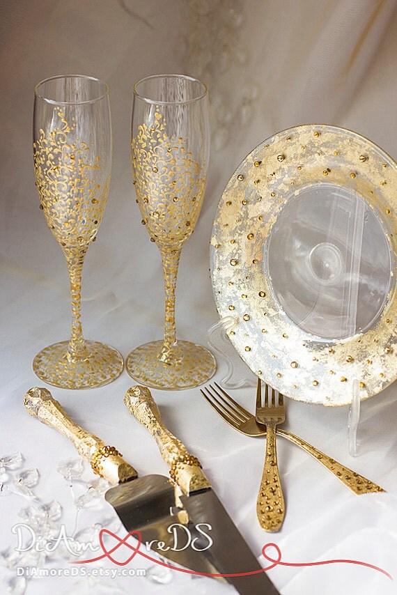 Gold Crystals Wedding Glasses Wedding Forks Amp Plate Cake