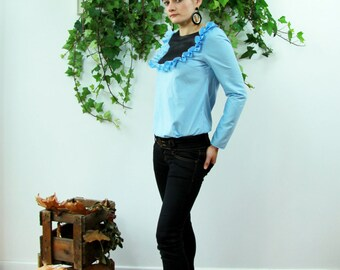 Women blue long sleeves shirt, office wear, cotton blue shirt , victorian shirt