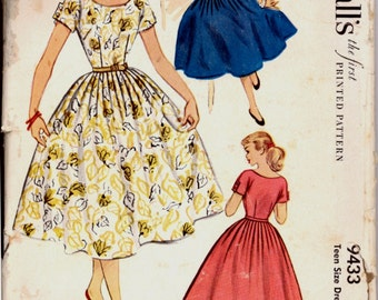 1950s Size 16 Bust 34 Kimono Sleeve Pleated Skirt  Dress McCalls 9433 Vintage Sewing Pattern Rockabilly 50s