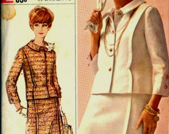 1960s Size 18 Bust 38  Designer Fashion Suit Skirt Jacket Simplicity 6406 Vintage Sewing Pattern 60s