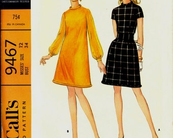 Uncut 1960s Size 12 Bust 34 Piped Hem Mini Mod A Line Dress McCalls 9467 Vintage Sewing Pattern