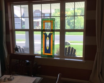 Orange, Green and Blues Stained Glass Window Panel - Large