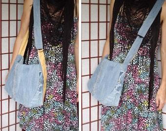 Recycled Denim Bag, Handmade Purse, Upcycled Jeans Bag, Denim Purse, Denim Messenger Bag, Cross Body Bag, Adjustable Strap Bag with Pockets