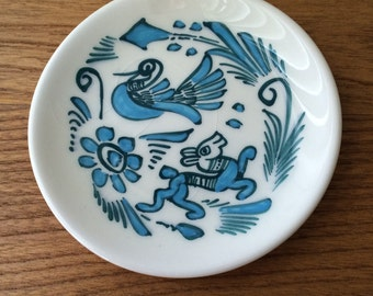 Small Aqua Handpainted Dish with Animal Motifs