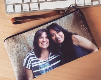 Christmas Gift for Mother- Gift Photo Wristlet for Her- Custom Photo Purse