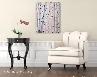 Birch Tree Print, Birch Tree Art, Aspen Tree Art, Giclee Print of Original Birch Painting, Giclee Art Print on Canvas, Pink Print Tree Print