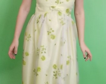 1960's Vintage Yellow Floral Formal Dress