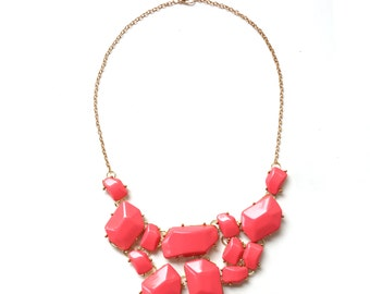 Red bib statement necklace, red statement necklace