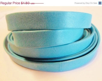 Pre Cuts, No Joins, Arizona Blue Turquoise 10mm Flat Leather,