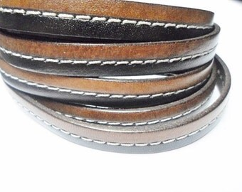 """8""""  10mm Flat Leather Cord, Two-Tone Black Brown Center Stitched, leather finding, jewelry supply,"""