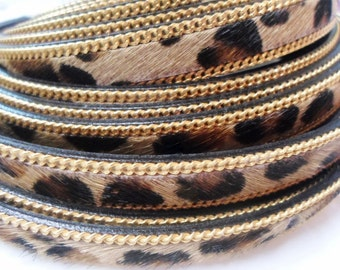 "8"" Leopardino Textured Hair 10mm Flat Leather on Gold Chain Border,"