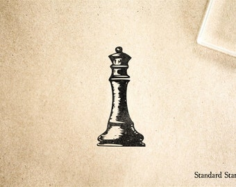 Vintage Chess Queen Rubber Stamp - 1 x 2 inches