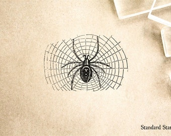 Halloween Hairy Spider Rubber Stamp - 2 x 2 inches