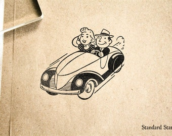 Retro Sunday Drive Rubber Stamp - 2 x 2 inches