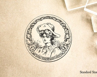 Vintage Cowgirl Medallion Rubber Stamp - 2 x 2 inches