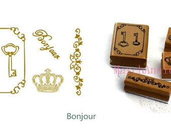 tin stamp set - Bonjour Stamp - Wooden Rubber Stamp - deco stamp 12 styles for choose