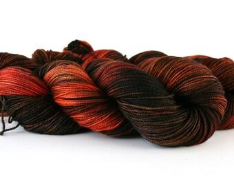 Hand Dyed Sock Yarn, Superwash Merino Wool, Brown Orange Rust Rusted Metal