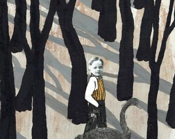 forest print, walk, boy, swan, animals, people, nature, digital illustration print,