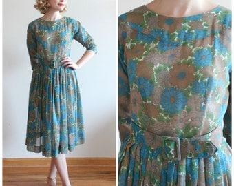 Estabrook Woods Dress * 1950s semi-sheer floral dress * Size 6