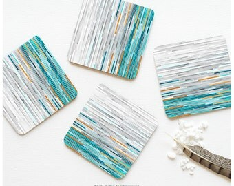 Coaster Set of 4 Watercolor Geometric Coasters, Teal Watercolor Blocks Coaster Set, Aqua Green Stripes Coasters T156