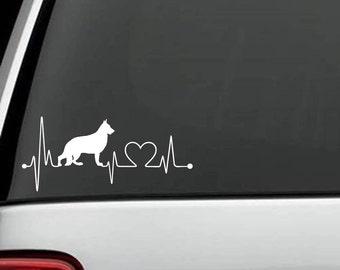 K1001 German Shepherd Heartbeat © Dog Decal Sticker