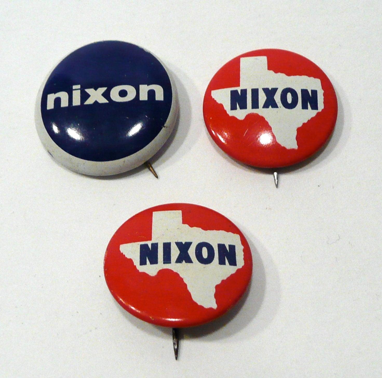 Rare Nixon Pins: Three Nixon Political Pins/Buttons