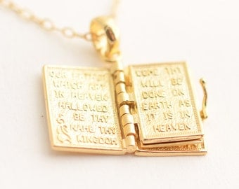 Bible Verse Necklace / Book Locket Necklace / Inspirational Jewelry