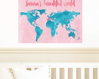 Map Wall Decals - Watercolor Map Fabric Wall Decals