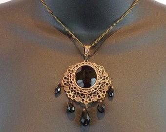 Victorian Black Cameo-style Necklace - E084