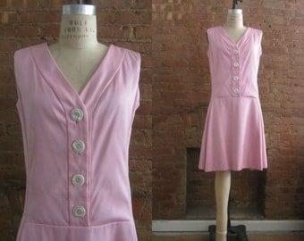 1960s Teal Traina pink drop waist dress | 60's Mid Century Mod Designer