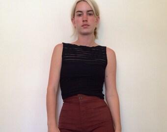 Black Wavy/ Sheer Shirt