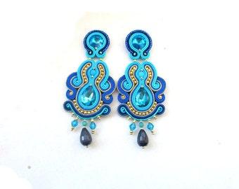 Long Clip-On Earrings - Blue Earrings, Soutache Earrings, Statement Earrings, Blue and Gold, Handmade Earrings, Earrings with Crystals