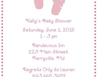 20 Pink Baby Feet Baby Shower Invitations Envelopes Included
