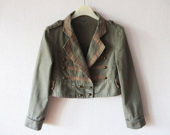 Khaki Marching Band Jacket Cropped Moss Green Cotton Womens Double Breasted Military Style Blazer MJ Michael Jackson Small to Medium Size