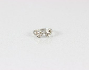 Sterling Silver 2 Heart Ring Size 5 3/4