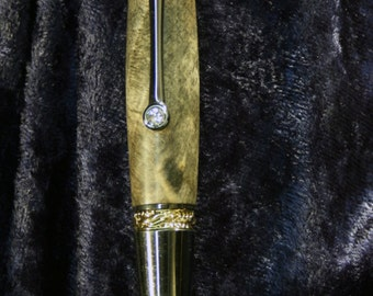 Beautiful Custom Majestic RollerBall Pen made with Box Elder Burl and 18K Gold & Black Titanium