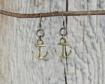CLEARANCE Anchor earrings - dangle earrings, beach earrings, beach wedding, nautical jewelry, drop earrings, bronze jewelry, summer
