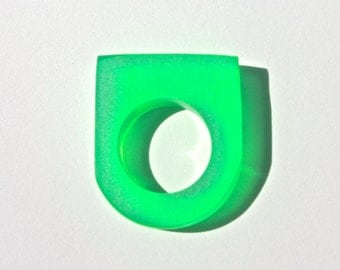 Emerald Geometric Ring, Neon Green Translucent Resin Statement Ring