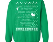 The Grinch. The Grinch Sweater. Ugly Christmas Sweater Party. Ugly Sweater Party. Ugly Sweater. Christmas Story Sweater. Filthy-Animal.
